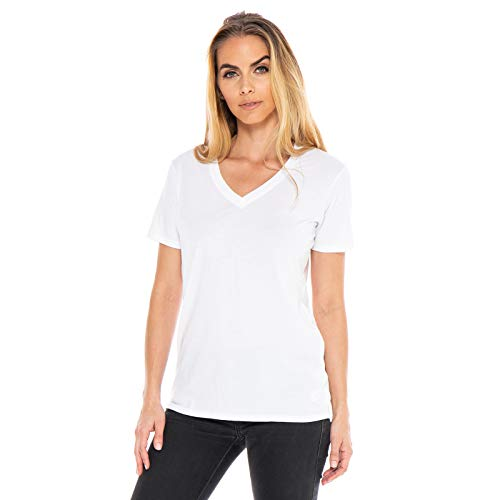 Women's Designer T-Shirt Lightweight Boyfriend Fit Short Sleeve V-Neck Organic Cotton Pre-Shrunk Embroidered Made in USA (White, Small)