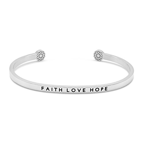 Simple Pledge - Faith Love Hope - Armreif in Silber mit Gravur für Damen