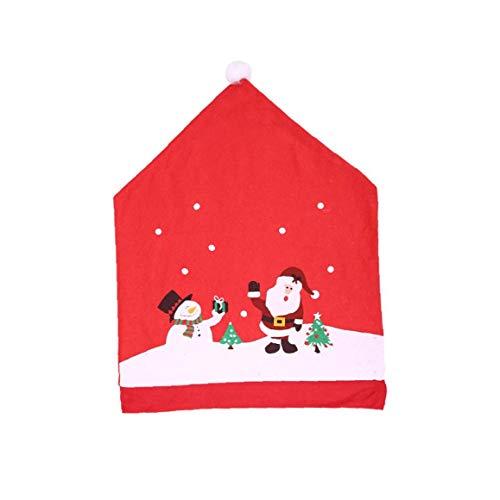 4 Stück Weihnachten Dining Chair Slipcovers Stilvolle Weihnachtsmann-Hut Küchenstuhl Schutz-rückseitige Abdeckungen Zuhause-Party-Dekorationen für Weihnachten Abendessen Haushaltsproduktzubehör