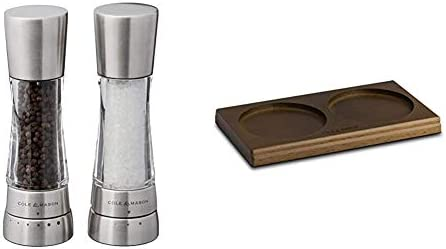 Cole Mason Derwent Salt Pepper Mill and Grinder Set Stainless Steel Salt Pepper Mill Tray Brown product image