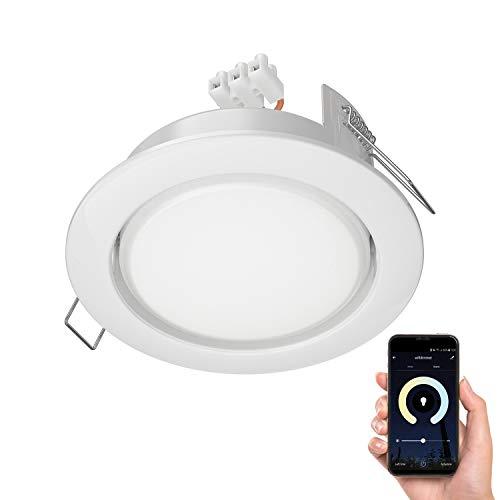 ledscom.de LED Einbaustrahler Zobe II flach GX53 weiß rund mit smarter LED-Lampe für Amazon Alexa dimmbar, 4,5W=38W 420lm 100°, Farbtemperatur steuerbar (2700K - 4100K), 107mm Ø Lochkreis 90mm Ø
