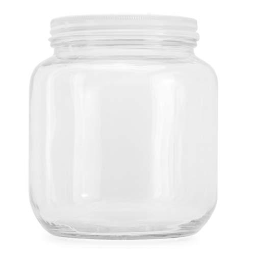64oz Clear Wide-mouth Glass Jar, BPA free Food Grade w/White Metal Lid (Half Gallon); 2 Quart Jar to Make Greek Yogurt/Kefir or Pickles