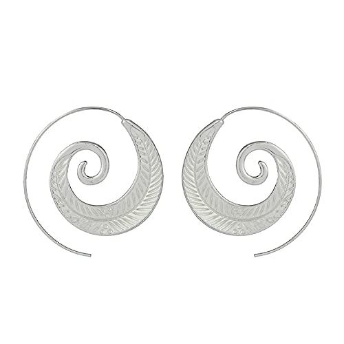 YANXIA Pendientes de Gota en Espiral Redondos Bohemios Pendientes Grandes de Color Plateado para Mujer Pendientes Decorativos Elegantes 10