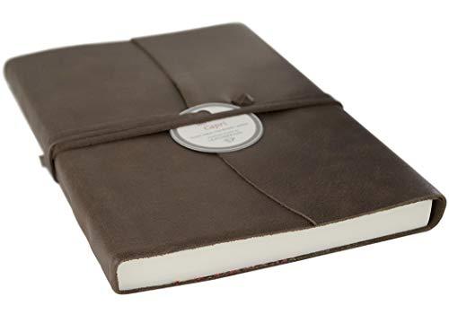 LEATHERKIND Capri Leder Notizbuch Schokobraun, A5 (15x21cm) Blanko Seiten - Handgefertigt in Italien