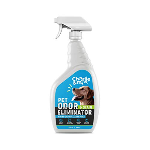 Charlie & Max Pet Odor & Stain Eliminator Spray - Plant-Based Cleaner, Removes Urine, Pet Odors, Stains from Dogs, Cats, Small Pets, Spot Treatment - 32 oz. Bottle