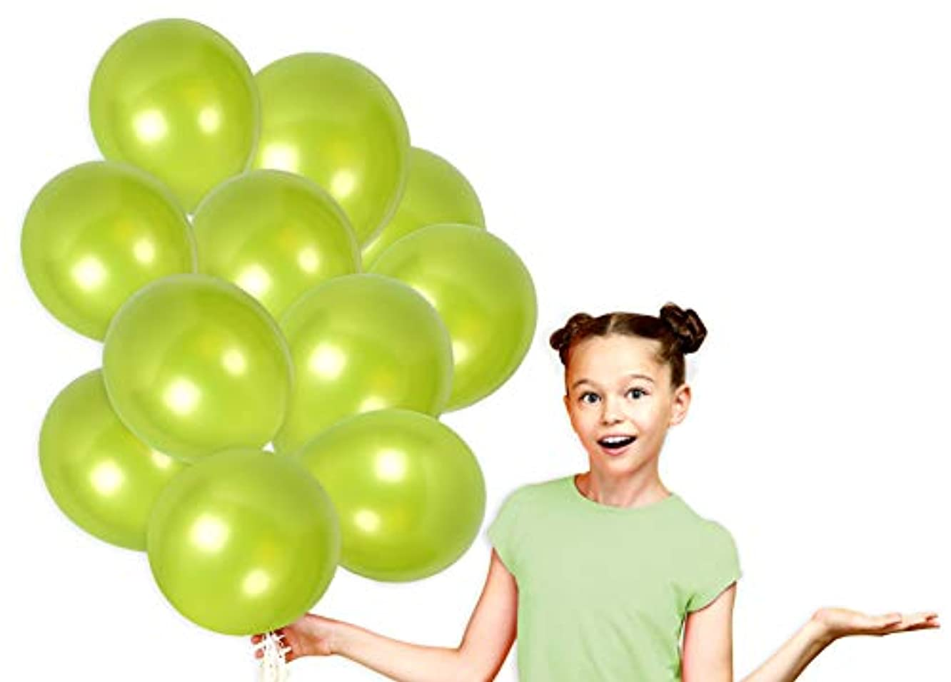 Pack of 36 Metallic Lime Green Balloons with Curling Ribbons Bright Pearl Latex for Christmas Birthday Decorations
