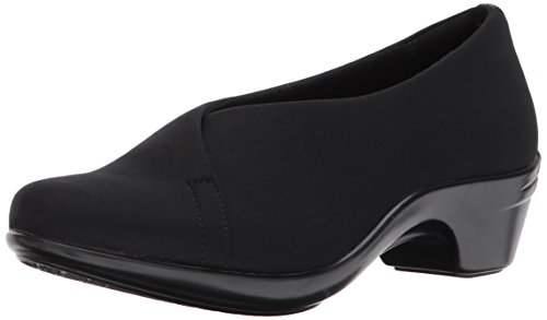 Aravon Women's Kitt Asym Dress Pump, Black Strtch, 8 B US