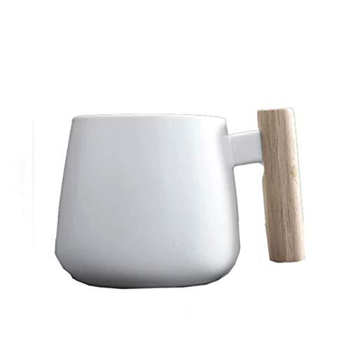 WxberG Tazas de café, Tazas de cerámica para té de oficina y hogar, capuchino, latte, café americano, diseño minimalista clásico (16 oz)