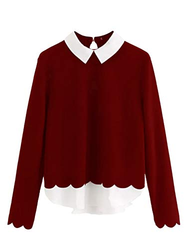 Floerns Women's Contrast Collar Hem Long Sleeve Blouse Top Burgundy L