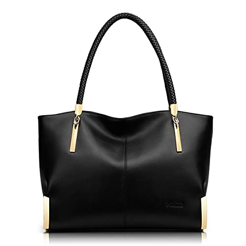 FOXER Large Leather Tote Handbags for Women, Split Cowhide Zipper Closure Ladies Top-handle Bags Womens Large Shoulder Purses and Handbags Women's Fashion Pocketbooks with Woven Handle(Black)