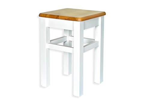 Mebel Verso Hocker Holz Hocker Schemel Holz Massivholzsitz ohne Lehne in Kiefer massiv Holzhocker massiv Sitzhocker Holz Holzstuhl | Weiß + brauner Sitz