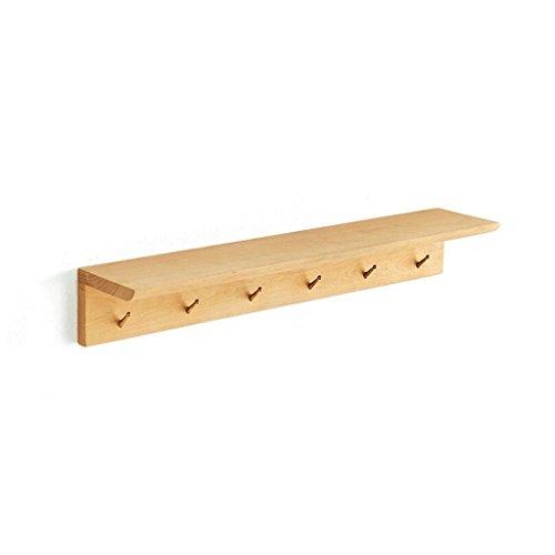 XXT Aan de muur bevestigde Kapstok 6 Haken 70cm houten interieur Woonkamer Slaapkamer Aisle Planken Creative Kapstok (Color : Beech)