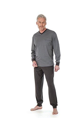 Betz 2 teiliger Herren Schlafanzug mit Bündchen Pyjama lang Farbe: grau Größen: 48-56 Größe 48/S