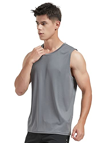 MIER Men's Lightweight UPF 50 Sleeveless Athletic Marathon Shirts Dry Fit Polyester Track Tank Top SPF Sun Protection Outdoor Performance Singlet Dark Drey L