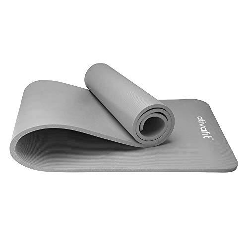 ATIVAFIT Phthalatfreie Yogamatte - rutschfest und gelenkschonend Sportmatte für Yoga Pilates Sport Fitnessmatte Gymnastikmatte mit Tragegurt Pilatesmatte 183 * 61 * 1 cm Trainingsmatte (Grau - 2)