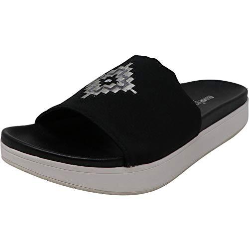 Minnetonka Womens Bailee Slide Sandal, Black Fabric, Size 9
