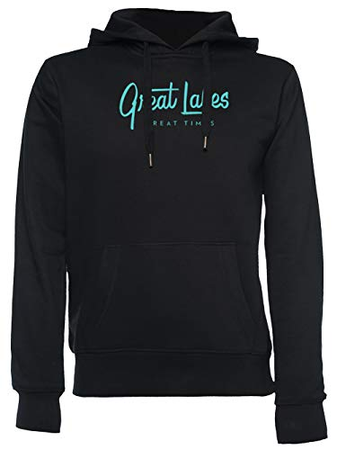 Great Lakes, Great Times - Typography Unisexo Hombre Mujer Sudadera con Capucha Negro Unisex Men