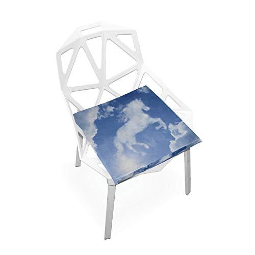 Enhusk Farbige Bürostuhl Matte Pferd Shapelike Bewölkt auf hellblauem, weichem, rutschfestem Memory Foam Stuhlpolster Kissen Sitz für die Küche zu Hause Schreibtisch 16 x 16 Zoll weiches Stuhlkissen