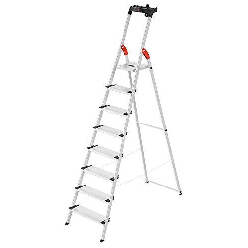 Hailo L80 ComfortLine Alu-Sicherheits-Stehleiter | 8 XXL-Stufen belastbar bis 150 kg | tiefe Standfläche |Stehleiter mit Ablage | klappbare Aluleiter made in Germany | Leiter rostfrei | silber