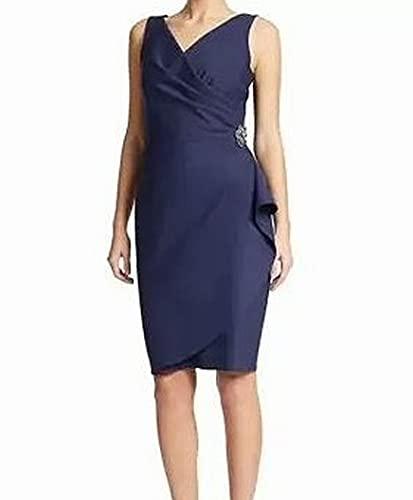 Alex Evenings Women's Short Side Ruched Dress with Cascade Ruffle Skirt, Navy, 14