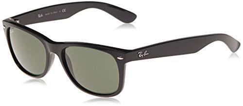 Ray-Ban RB2132 New Wayfarer Sunglasses, Black/Green, 52 mm