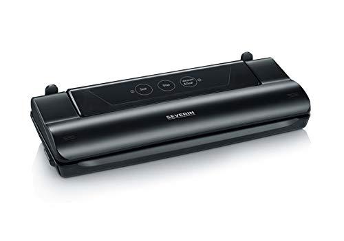 SEVERIN FS 3610  Vakuumiergerät mit intergriertem Cutter (Inkl.10 Vakuumbeutel (28x35 cm) Schweißnaht B: 28 cm, Integriertes Kabelfach) schwarz