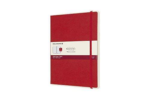 Moleskine Notebook Paper Tablet, Taccuino Digitale con Pagine a Righe e Copertina Rigida, Notebook Adatto all Uso con Pen Moleskine+, Colore Rosso, Extra Large (19 x 25 cm)
