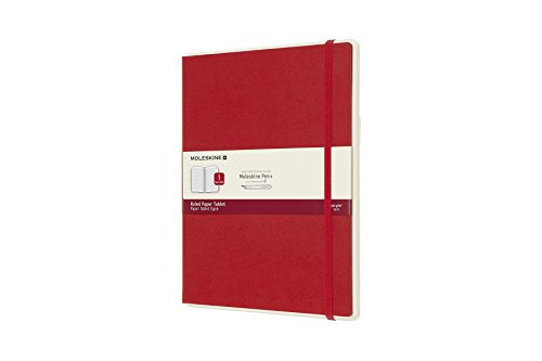 Moleskine Notebook Paper Tablet, Taccuino Digitale con Pagine a Righe e Copertina Rigida, Notebook Adatto all'Uso con Pen Moleskine+, Colore Rosso, Extra Large (19 x 25 cm)