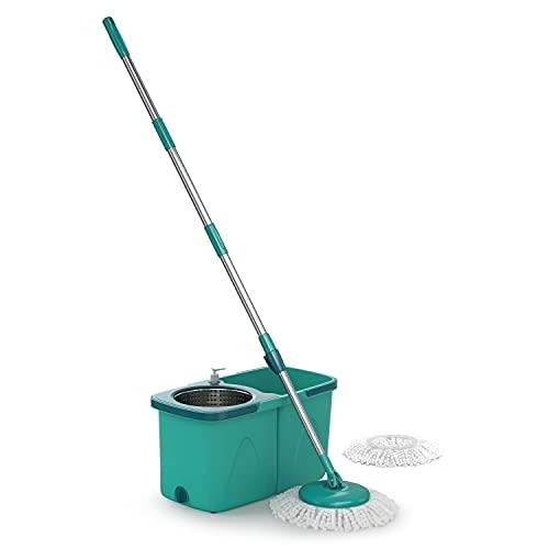 Mop Giratório Pró duas águas, balde com 9 litros, Cesto Inox e Divisor de água, MOP7824, Flash Limp