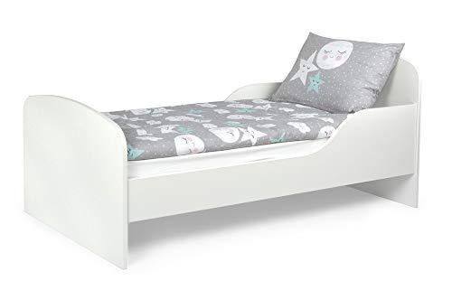 Leomark Letto per bambini in legno, lettino con materasso, spazio per dormire 140x70 cm, mobili per bambini, rete a doghe, atrezzatura stanza per bambino, letto singolo, colore BIANCO