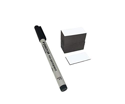 Magnetetiketten | Magnetstreifen beschreibbar 40mm x 20mm + GRATIS Non-Permanent-Stift von STAEDTLER - Ideal für Lager, Regale und Beschriftungen