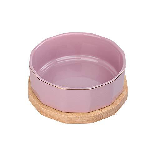 HCHLQLZ Lila Keramik Hundenapf Futternapf Fressnapf Napf für Hund Katzen mit Massivholz Ständer