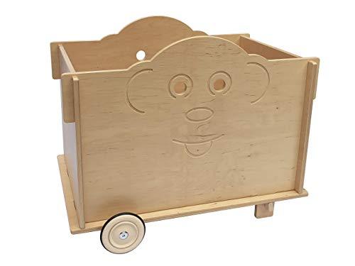 Schaukelzoo Spielzeugkiste (AFFE, Frosch, Löwe) aus Holz mit Rädern: ökologisch, sozial hergestellt, Spielzeug/Truhe ab 3 Jahren (AFFE)