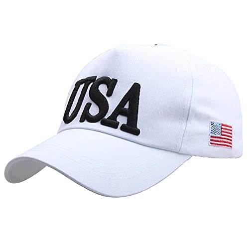 sombreroGorra de Beisbol Gorra de béisbol Sombrero de Bandera Americana Bordado Sombrero de papá Ajustable Gorras de Hip HopCasquette Blanco