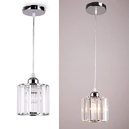 Mini lámpara colgante candelabros de cristal iluminación montaje empotrado accesorio de iluminación de techo para comedor, dormitorio cocina isla armario pasillo,E26,Cromo