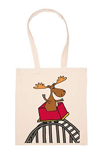 Karikatur Elch Reiten Rolle Untersetzer Tasche Wiederverwendbar Einkaufen Lebensmittel Baumwolltuch Tote Reusable Shopping Bag