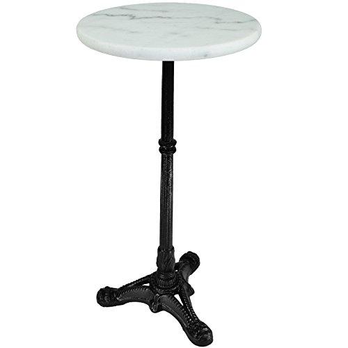 My-goodbuy24 Beistelltisch Blumenhocker Bistrotisch Gartentisch Bistro-Tisch weiß - Marmorplatte - Unikat durch Naturstein - Gestell aus Gusseisen Ø30cm x 60cm