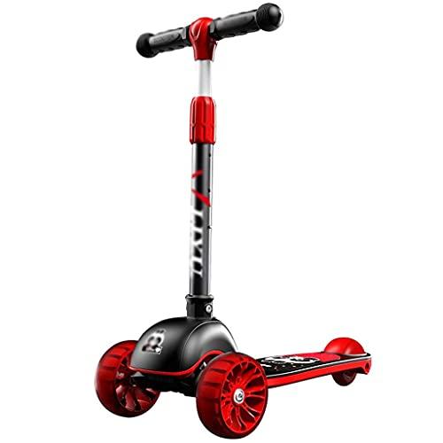 ZHZHUANG Patear Scooter Parpadeando Triciclo One-Button Scooter Plegable 3 Rueda Kick Scooter para Niños Pequeños 3-10 Años con Altura Ajustable,Rojo
