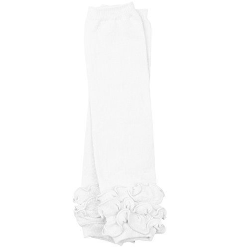 juDanzy ruffled leg warmers for baby or toddler girls (One Size (12 pounds to 10 years), Solid White Triple Ruffle)