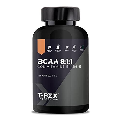 T-Rex Integratori BCAA 8:1:1 Kyowa Quality Integratore alimentare di aminoacidi ramificati con Vitamina B1, B6 ed E | Anabolic Post workout potente | 150 compresse