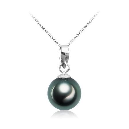 9-10mm Tahitian Pearl Necklace Silver Gray 18 inch Silver Clasp