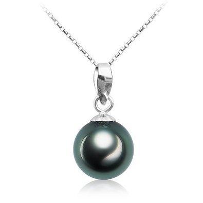 Halskette mit Ketten-Anhänger Schwarze Tahiti Perle 9°mm