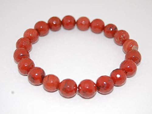 World Wide Gems Pulsera de jaspe rojo elástico de 10 mm, redonda, lisa de 7 pulgadas para hombres, mujeres, gf, bf y adulto.