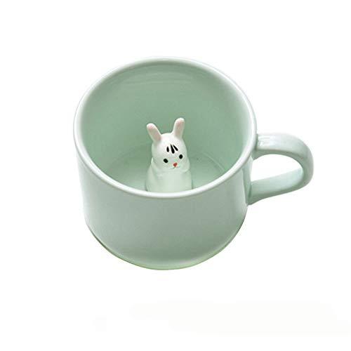 Kaffee-Milch-Tee-Keramik-Becher - 3D Tier-Morgen-Schale beste Geschenk Für Morgengetränk und Hochzeiten, Geburtstage, Vatertag BigNoseDeer (Hase)