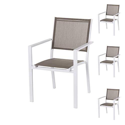 Tousmesmeubles Quatuor de Chaises Textilène Taupe/Métal Blanc - VADO - L 55 x l 58 x H 85 - Neuf