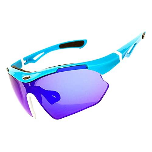 AESHW Gafas de Sol de Ciclismo, Gafas Anti-ultravioletas Transparentes, Gafas Deportivas al Aire Libre, Peso Ligero y Duradero. Blue White Frame