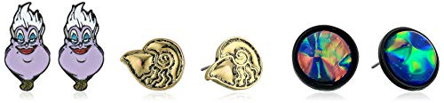Disney Little Mermaid Ursula Seashell 3 Pack Earrings Black