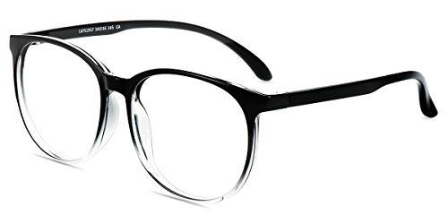 Firmoo Oversize Blue Light Blocking Glasses Women Men, Anti Eyestrain Anti Headche, Lightweight Computer Glasses for Digital Screen Use (Black-Clear Frame)