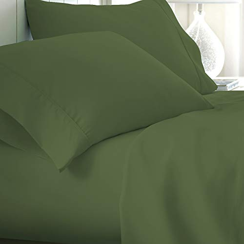 Egyptian Cotton Sheets King-Size - 800 Thread Count Sage Sheets, Luxury 4 Piece Sateen Weave Bed Set, 100% Breathable Long Staple Cotton, 16 Inch Elasticized Deep Pocket
