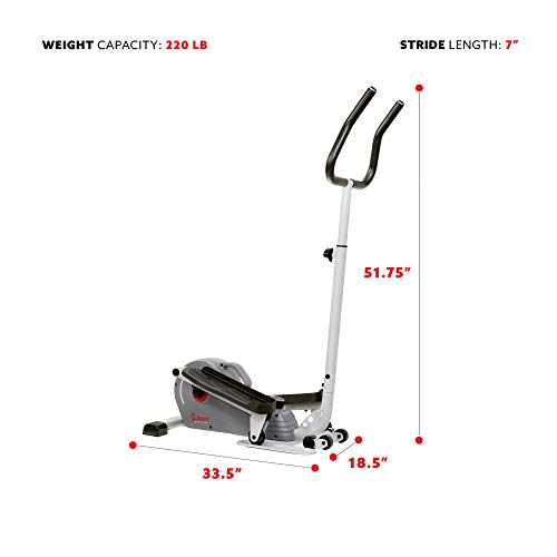 Product Image 5: Sunny Health & Fitness Magnetic Standing Elliptical with Handlebars – SF-E3988, Grey